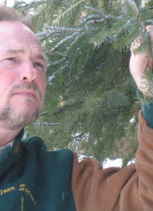 ken lund of four seasons tree care in stouffville inspecting tree for damange